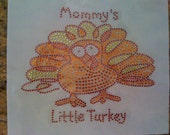 Discontinued/sale Thanksgiving Rhinestone Design-Mommy's Little Turkey Heat Transfer-DIY free shipping