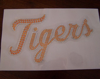 Tigers Mascot Orange Rhinestone Heat Transfer-DIY