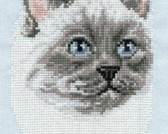 Birman Cat counted cross-stitch chart
