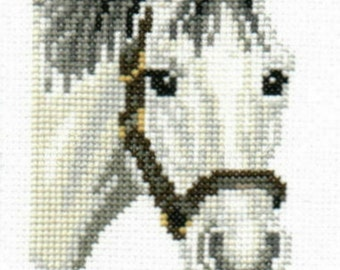 Grey-White Horse counted cross-stitch chart