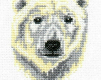 Polar Bear counted cross-stitch chart