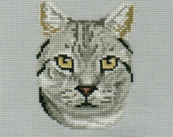 Silver Tabby counted cross-stitch chart