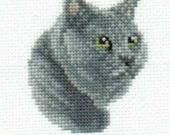 Russian Blue Cat Cross Stitch Chart