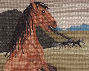 Runaway Mustang Horse counted cross-stitch chart by Lisa Overduin