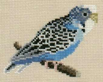 Blue Budgie counted cross-stitch design