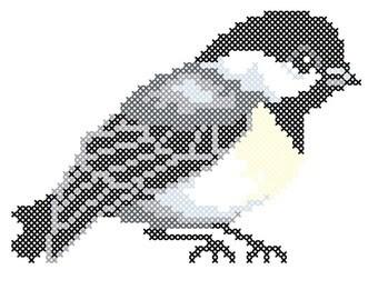 Chickadee counted cross-stitch chart