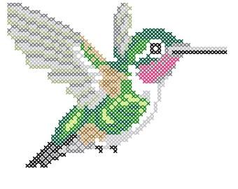 Ruby Throated Hummingbird counted cross-stitch chart