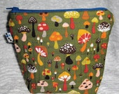 Mushroom Quilted Zip Pouch