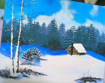 Original Painting - Cabin in Snow with Owl