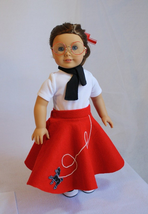 Red Poodle Skirt, Knit Top, and Scarf fits American Girl or 18 inch Dolls By Cjs Little Boutique