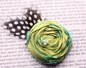 Green Twist Rosette Hair Clip with Woodland Feather Accent  M2M Matilda Jane/House of Clouds Collection or Photography Prop