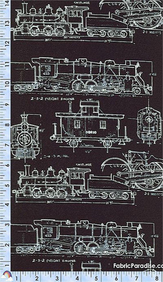 Timeless treasures fabric vintage train by greatfabricfinds for Train print fabric
