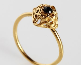 Gold Plated 24K  Ring With Beautiful Black  Swarovski Crystal