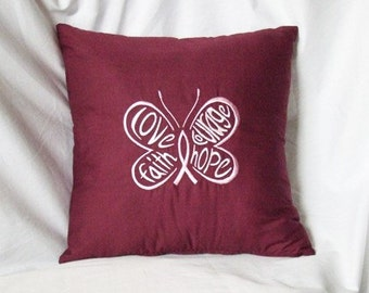 Hope Cure for Cancer Pillow Cover Embroidery Butterfly