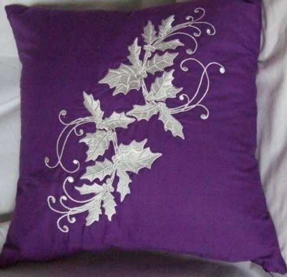 Pillow Cover Embroidered  Purple with White Holly Leaves n Berries
