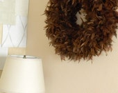 Feather Wreath in  chocolate bunny brown- free shipping