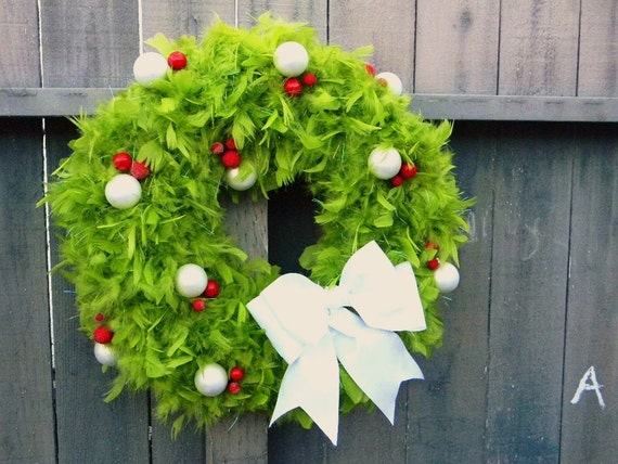 White Dots,Green Feathers  Your Favorite Christmas Wreath