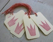 Hand Stamped Gift Tags - Pink Crown