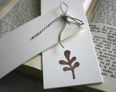 Set of Two Hand Stamped Bookmarks  - Sweet Little Leaf