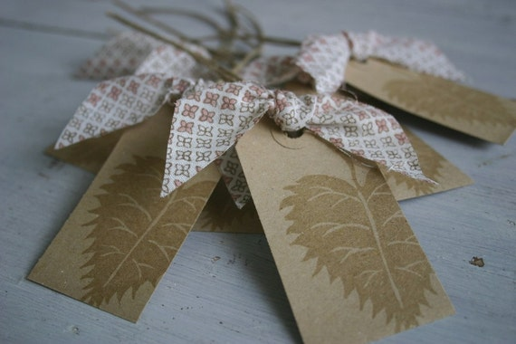 Hand Stamped Gift Tags -  Birch Leaf in Watermark Ink