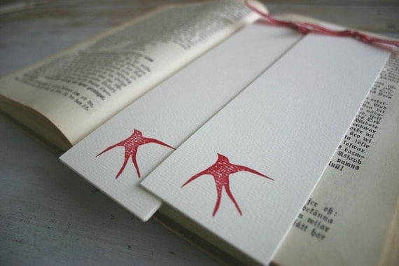 Set of Two Hand Stamped Bookmarks - Warm Red Swallow