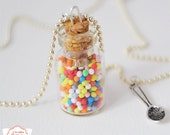 Rainbow candies jar necklace