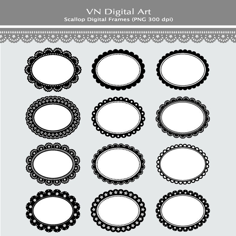 Scallop Frame Png Digital Scallop Frames Labels