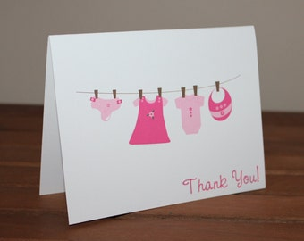 Baby Girl Clothes Clothesline Baby Shower Thank You Note Card