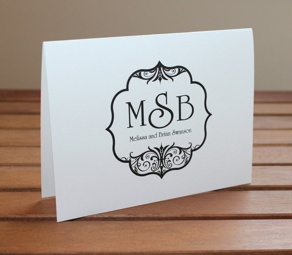 Elegant Black Scroll Monogram Wedding Thank You Card Personalized