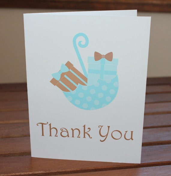 Umbrella Baby Shower Thank You Cards - Pink, Blue or Green