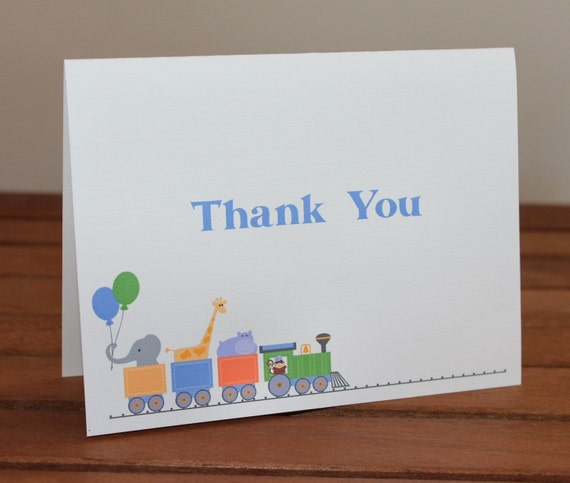 Zoo Animals Train Thank You Cards - Baby Shower, Birthday, Personalized Note Card