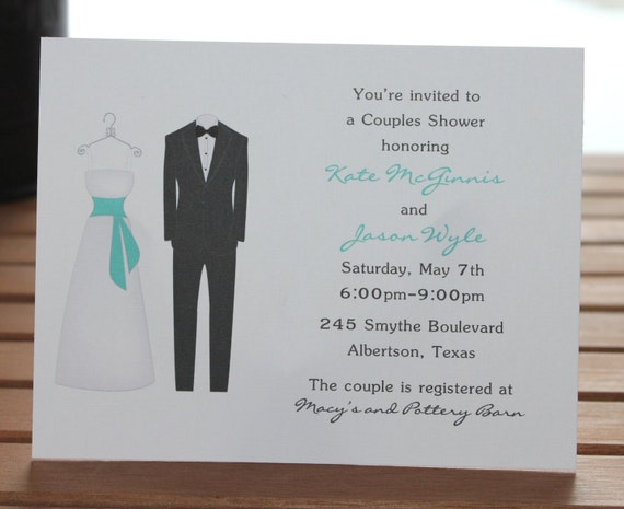 Bride and Groom Personalized Couples Bridal Shower Invitations