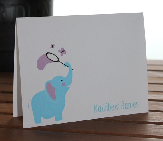 Baby Elephant Personalized Note Card, Thank You Card, Birthday, Baby Shower