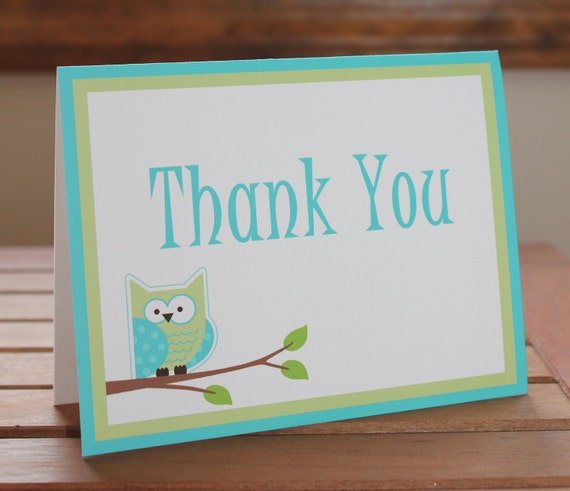 Owl Personalized Note Card, Thank You Card, Birthday, Baby Shower