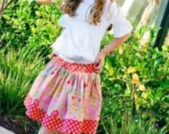 Girl's Skirt Pattern, Pink Fig Patterns, The Girly Skirt, Size 6 Months to 10 Years, Ships Free with another purchase