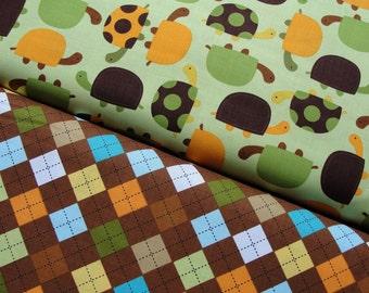 Robert Kaufman Fabric, Urban Zoologie by Anne Kelle, Turtles in Bermuda and Argyle in Chocolate, Full Yard Set, 2 Yards Total