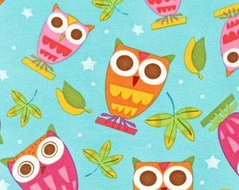Robert Kaufman Fabric, Owls in Aqua, On a Whim by Amy Schimler, 1 Yard Total