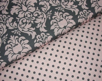 Michael Miller Fabric Duo, Dandy Damask Bloom and Dumb Dot Blossom, Full Yard Set, 2 Yards Total