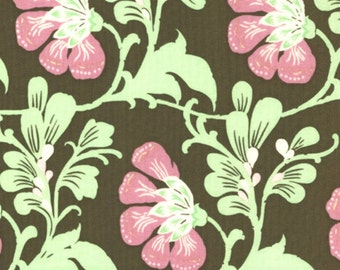 Amy Butler Fabric, Sweet Jasmine in Brown, Daisy Chain Collection, End of Bolt Special, 26 Inches Total