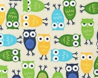 Robert Kaufman Fabric, Owls in Blue by Ann Kelle, Urban Zoologie, 1 Yard
