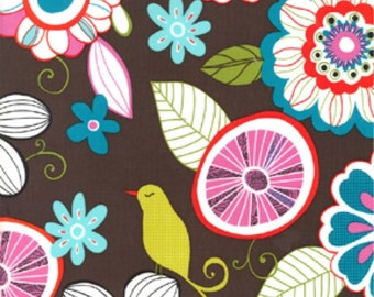 Michael Miller Fabric, Contemporary Florals, Tweet Birdie Tweet in Cocoa, 1 Yard