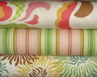 Heather Bailey Fabric, Freshcut in Brown and Pink, Full Yard Bundle, 3 Yards Total