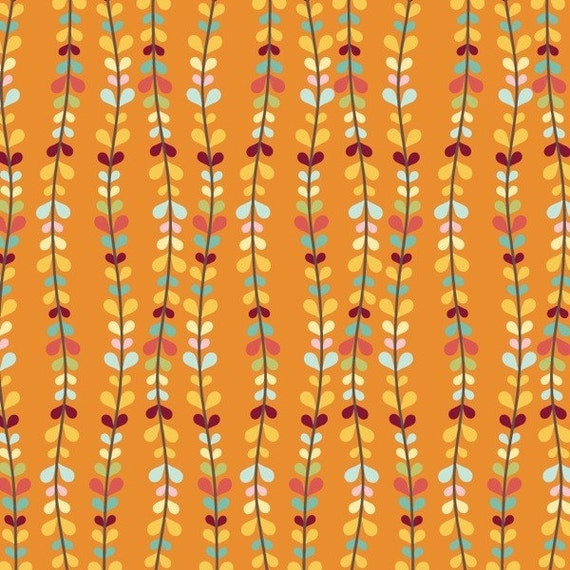 Riley Blake Fabric, Bloom and Grow, Orange Bloom Vine, End of Bolt, 3/4 Yard