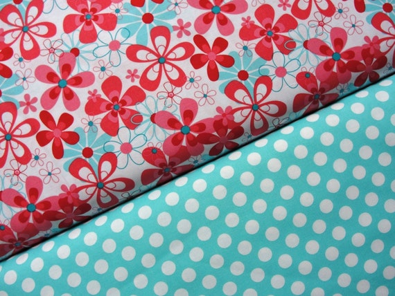 Michael Miller Fabric, Nearby Floral and Ta Dot in Ocean, Aqua and Red Collection, Half Yard Set, 1 Yard Total