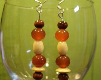Carnelian and wood bead french wire earrings