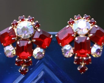 Cherry red rhinestone earrings