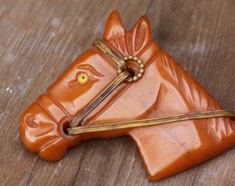 Butterscotch Bakelite horse head - REDUCED
