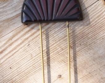Ebony Black Carved Bakelite Hat Pin or Brooch
