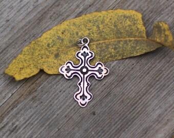 Sterling Silver and Black Enamel Cross