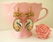 Bird Earrings: Bird Cameo Earrings-Cottage Chic-Altered Art Earrings